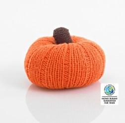 Orange Crochet Cotton Pumpkin Baby Rattle with brown stalk