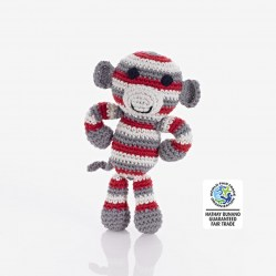 Fair Trade Crochet Red Monkey Rattle with red, grey and white stripes