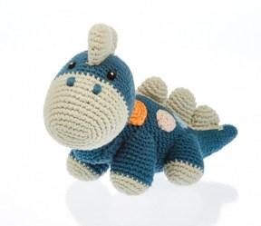 organic baby dinosaur toy in petrol blue with orange dots and pale cream spine and nose