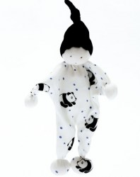 White cotton baby comforter baby toy with black panda print design and black pointy hat