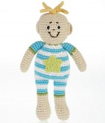 Fair Trade Cotton Crochet Baby Boy Soft Doll Rattle Turquoise