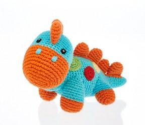 fair trade handmade baby dinosaur toy in turquoise blue and orange spines, feet and mouth.