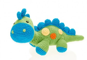 Cotton Dinosaur Baby Rattle soft blue with green body and blue spines, feet and mouth.  Body covered with colourful spots