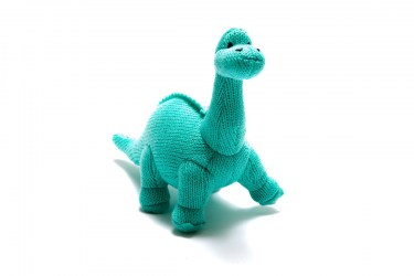 Small knitted diplodocus dinosaur baby toy with long neck and smiley face knitted in vivid ice blue yarn