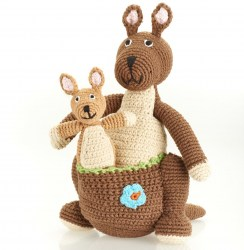 Large brown crochet kangaroo soft toy with cute joey in its pouch