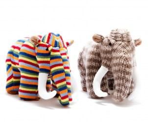 Knitted multi stripe woolly mammoth dinosaur soft toy