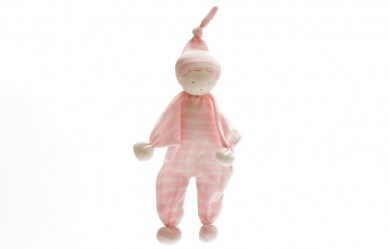Organic Cotton Baby Comforter with Pink Wide stripes and matching pointy hat