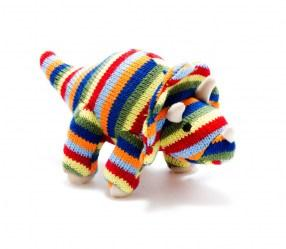 Knitted stripe triceratops dinosaur baby rattle