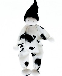 White baby comforter with black whale design fabric and black pointy hat, approximately 20cms in height