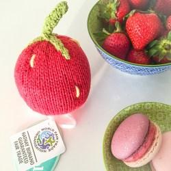 Fair Trade Crochet Cotton Strawberry Baby Rattle