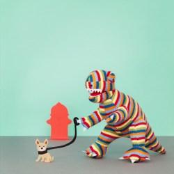 stripe T rex and his dog