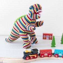 stripe t rex with trains