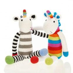 Fair Trade Crochet Cotton Black & White Unicorn Toy