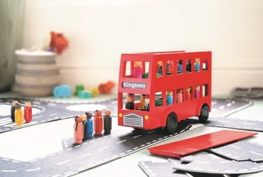 wooden Red bus with people lifestyle
