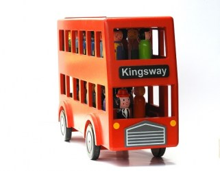 wooden bus toy front