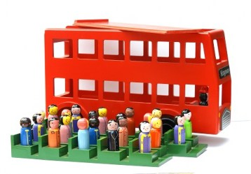 wooden bus with people outside