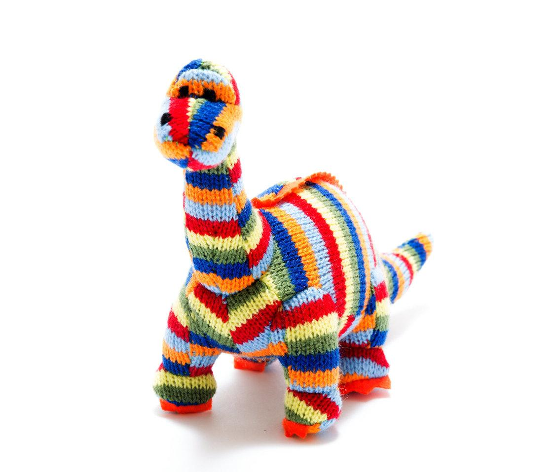 Small Stripe Diplodocus Knitted Dinosaur Rattle