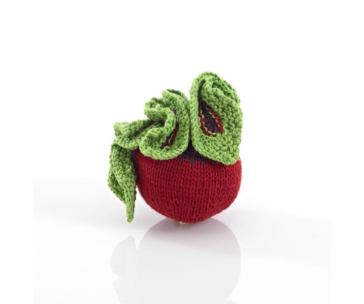 Crochet Cotton Beetroot Baby Rattle with Green Leaves