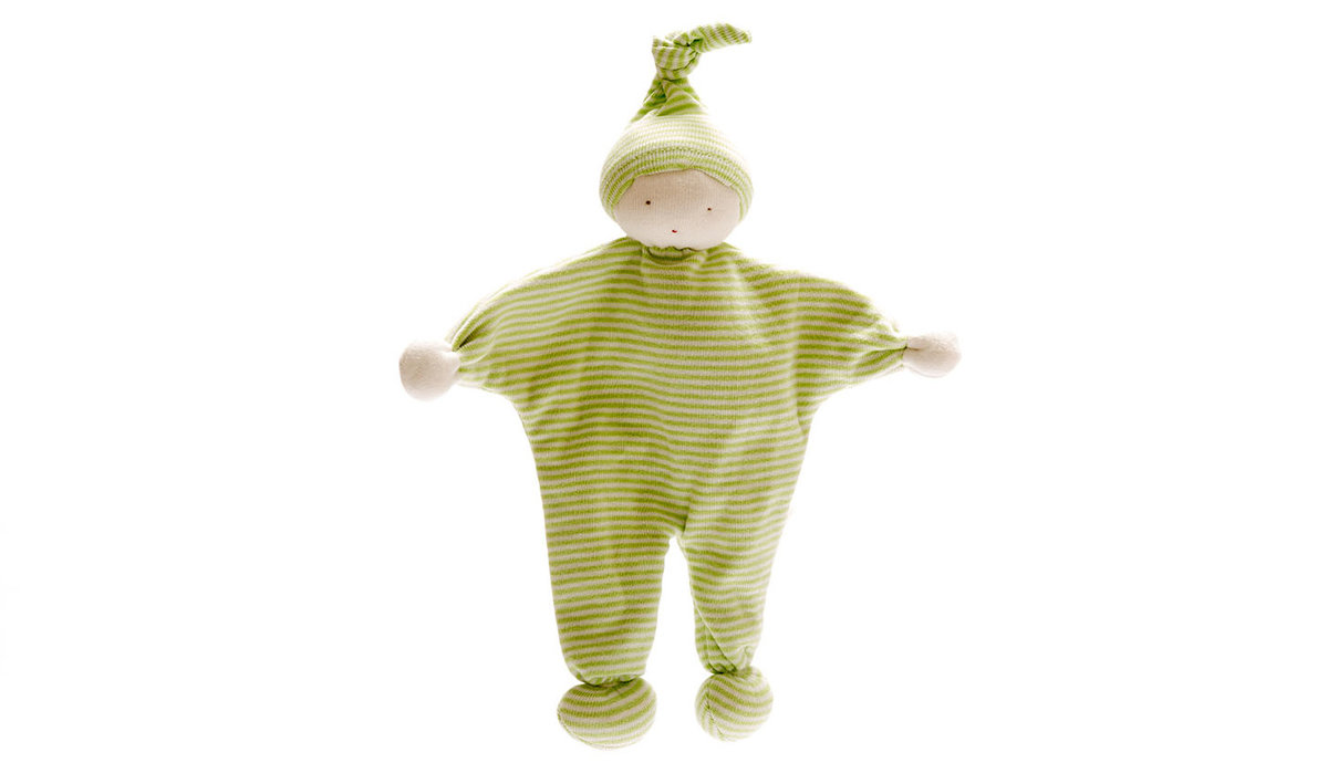 Baby Comforter with Green stripe fabric and matching pointy hat