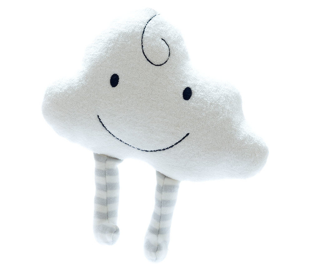 soft organic cotton cloud toy with stripey dangly legs and smiley face
