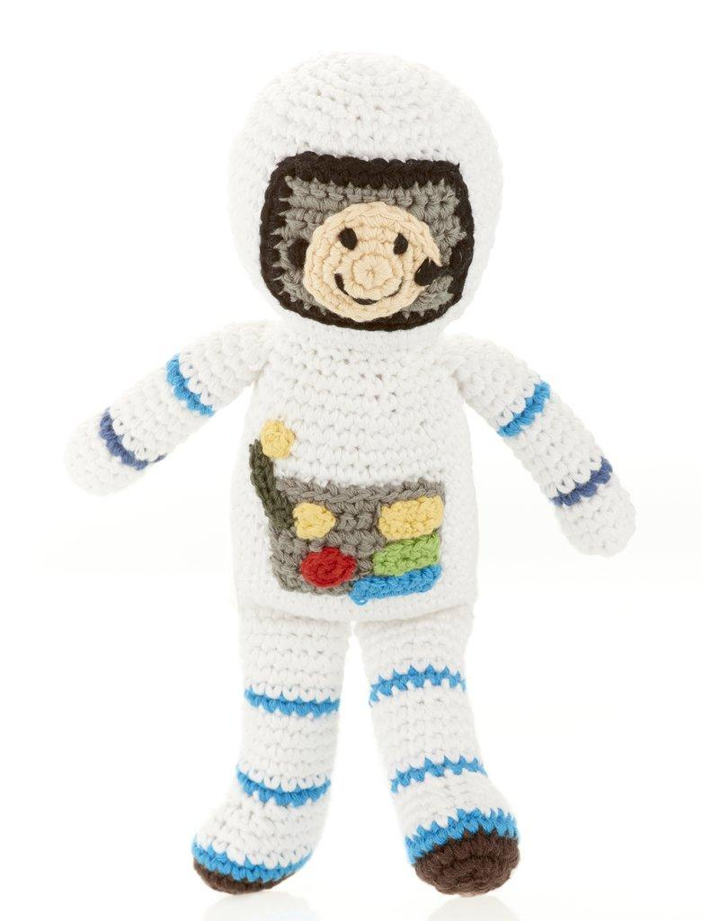 Crochet Cotton astronaut baby rattle
