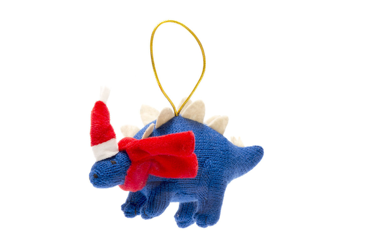 Xmas Decorations Blue Knitted Stegosaurus Dinosaur Christmas Decoration