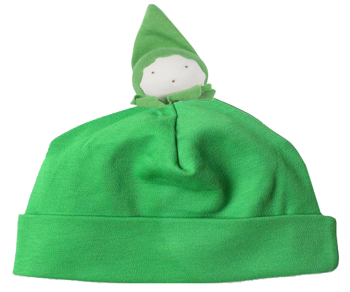 Organic Beanie hat in green with doll head on top. Matches with green bean toy and bodysuit