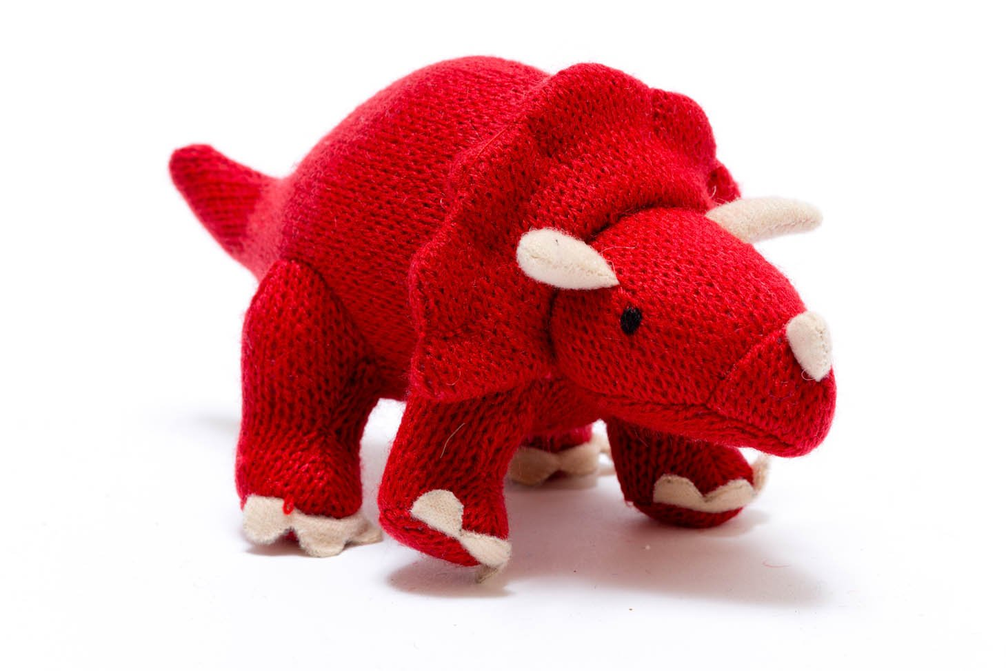 red knitted triceratops rattle baby dinosaur toy