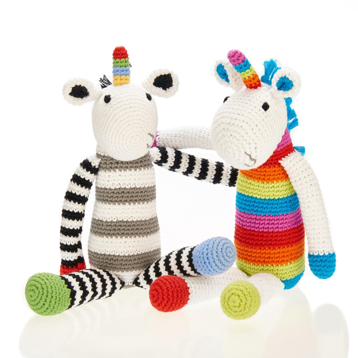 Fair Trade Crochet Cotton Black & White Stripe Unicorn Toy with colourful strip horn