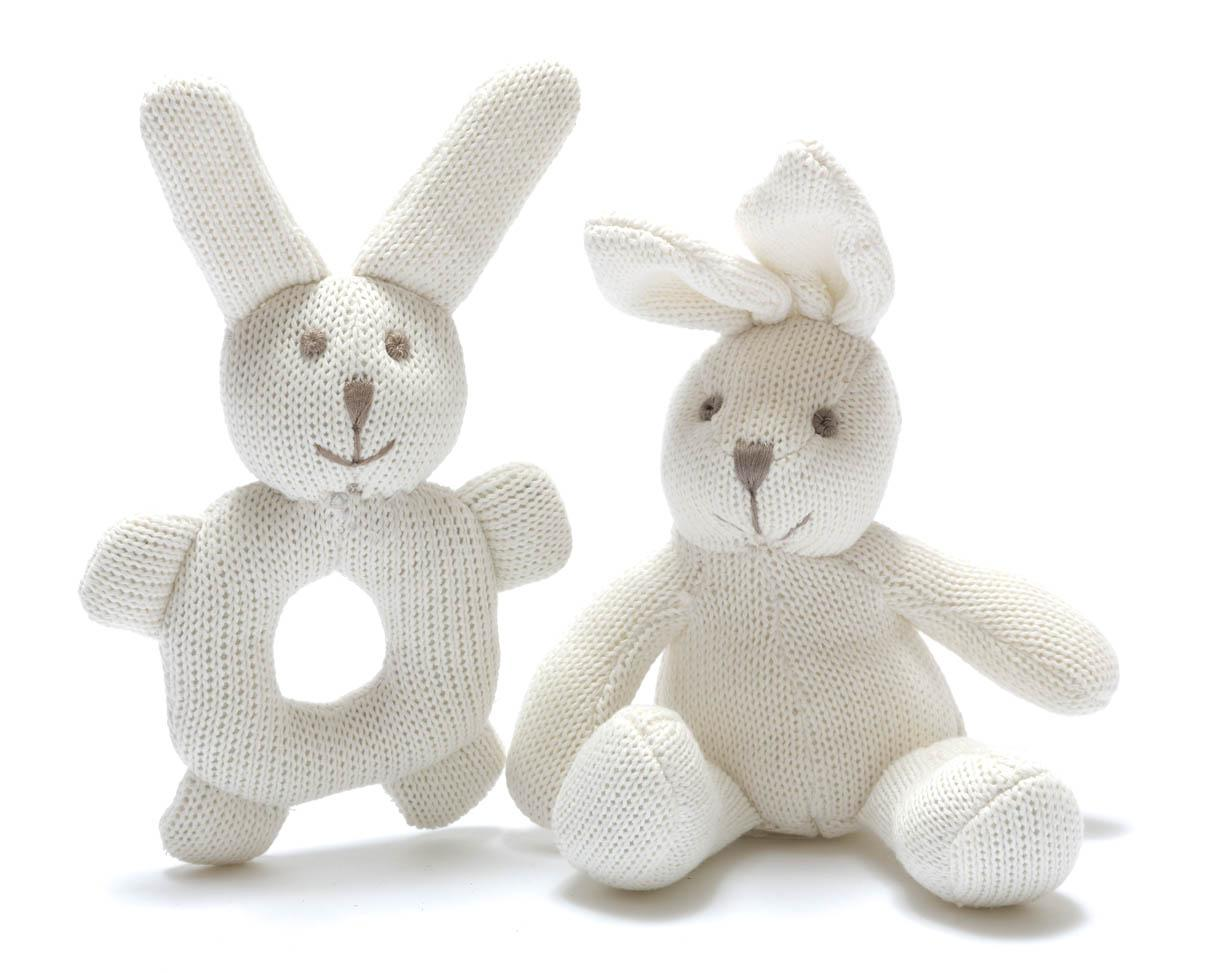 Organic Baby Toys : Baby toys knitted organic white bunny ring rattle